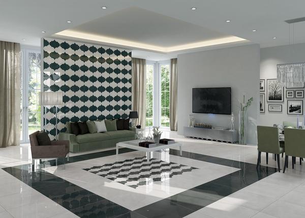 米白色客厅防滑地砖